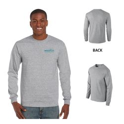 Quick Ship Gildan® Ultra Cotton Classic Fit Long Sleeve Tee -Gray