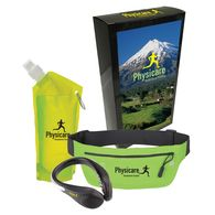 Deluxe Exercise Combo Kit with Custom Box Includes Shoe Light, Running Belt and Collapsible Water Bottle.