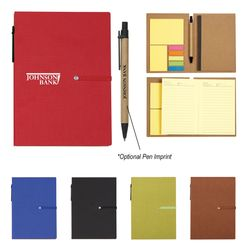 "5"" x 7"" Bound Notebook With Sticky Notes And Matching Pen"