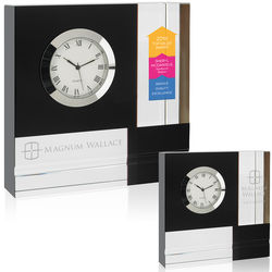 Glass Clock with Color Block Pattern
