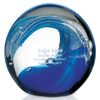 Blue Wave Art Glass Paperweight