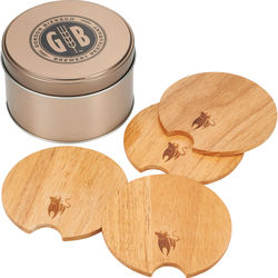 5-Piece Wood Coaster Set with Metal Storage Tin
