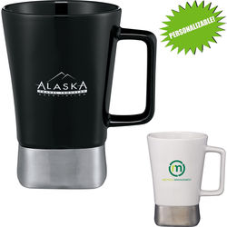 "16 oz Ceramic Mug with Stainless Steel ""Personalizable"" Base"