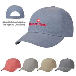 6-Panel, Medium Profile Linen-Feel Vintage Cap with Self-Fabric Hook and Loop Closure