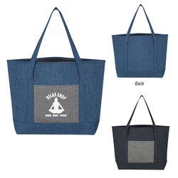 """13.5"""" x 13"""" Denim-Effect Tote Bag"""