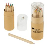 12-Piece Colored Small Pencils Tube With Sharpener