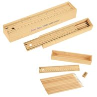 Colored Full-Sized Pencil Set In Wooden Ruler Box