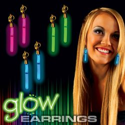 Plastic Glow-Stick Clip-On Earrings