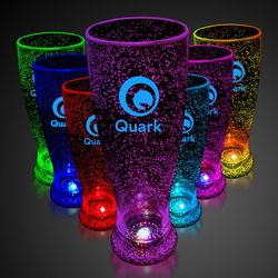 24 oz Plastic Light-Up Bubble Pilsner Glass with Multi-Color LEDs