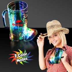16 oz Plastic Light-Up Cowboy Boot Cup with Multi-Color LEDs