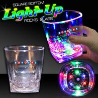 10 oz Plastic Light-Up Square Bottom Rocks Glass with Multi-Color LEDs