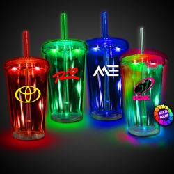 16 oz Plastic Light-Up Travel Cup with Lid, Straw and Multi-Color LEDs