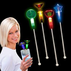 "8"" Plastic Light-Up Swizzle Stick with Multi-Color LEDs"