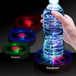 "3.5"" Plastic Round Light-Up Drink Coaster with Multi-Color LEDs"