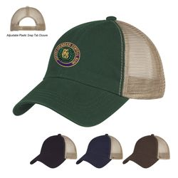 6-Panel Low Profile Cotton Twill Cap with Mesh Back and Adjustable Plastic Snap Tab Closure