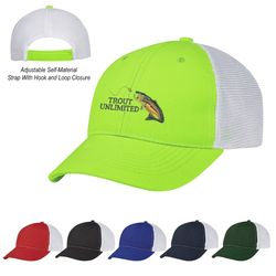 6-Panel Medium Profile Polyester Canvas Cap with Mesh Back and Adjustable Self-Material Strap With Hook And Loop Closure