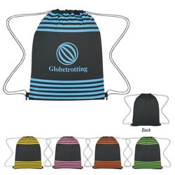 "13"" x 17"" Striped Polyester Drawstring Cinch Backpack"