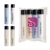 4 Piece Travel Amenities Kit with Shampoo, Conditioner, Shower Gel and Hand and Body Lotion