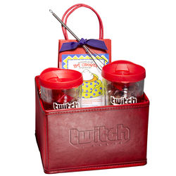 Gift Set with Tumblers, Hot Cocoa & Pretzels in Folding Bin