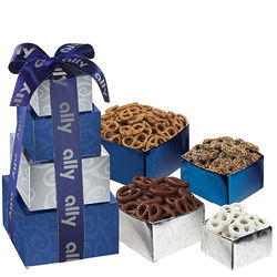 4-Tier Sweet & Salty Pretzels Gift Tower with 4 Best-Selling Flavors