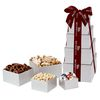 4-Tier Holiday Favorites Gift Tower with Lindt® Truffles, Pistachios, Chocolate Covered Pretzels, & White Chocolate Peppermint Popcorn