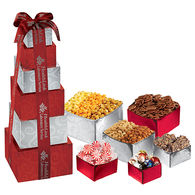 6-Tier Celebration Snack Gift Tower with Lindt® Truffles, Butter Toffee, Starlight Mints, Dry Roasted & Honey Roasted Peanuts, Mini Pretzels and 3 Popcorn Flavors