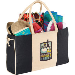"11.5"" x 18.25"" Jute Tote with Rope Tie Accents"