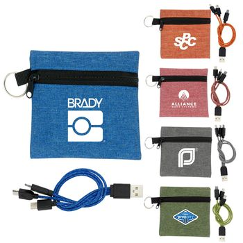 Tech Kit Includes Braided 3-in-1 Charging Cable in Small Snow Canvas Pouch