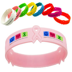 Custom Silicone Wristband with Awareness Ribbons - Overseas Production