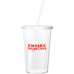 16 oz. Single-Wall Acrylic Tumbler with Screw-On Lid and Straw