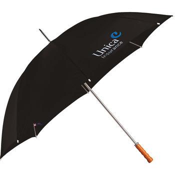 "60"" Arc Manual-Open Golf Umbrella with Wood Handle (39"" Folded)"