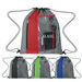 "14"" x 17"" Polyester Drawstring Cinch Backpack with Clear Pocket"