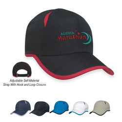 Moisture-Wicking Breathable Polyester Cap with Jersey Mesh Vents and Velcro&reg Closure