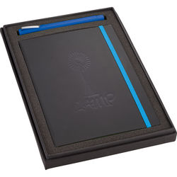 "Gift Set with 5.5"" x 8.25"" Bound Faux Leather Journal with Colored Edges and Elastic and Pen"