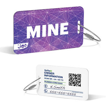 RuMe® ID Luggage Tags with Full Color Printing and Retail Packaging