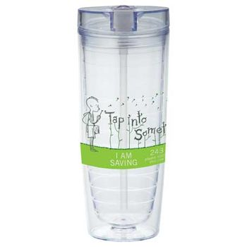 20 Oz Hot & Cold Tumbler with Integrated Pop-Up Straw