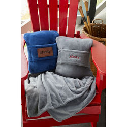 Travel Blanket with Luggage Handle Sleeve also Folds into a Compact Pillow