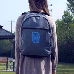 """Flush-Front Snow Canvas Backpack with Faux-Leather Logo Patch - Holds 15"""" Laptops"""