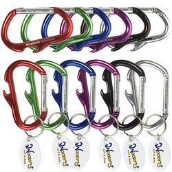 """Large 3 1/2"""" Carabiner Keytag with Bottle Opener with Imprint on Oval Tag"""