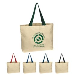 "16"" x 12.5"" Natural Cotton Canvas Tote Bag with 20"" Handles"