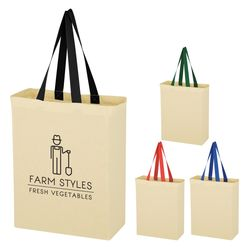 "10"" x 14"" Natural Cotton Canvas Grocery Tote Bag with 20"" Handles"