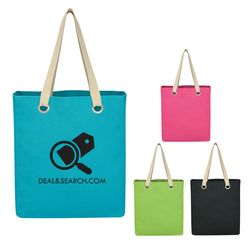 "11.5"" x 13.5"" Vibrant Colors Cotton Canvas Tote Bag with 19"" Handles"