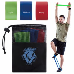 Elastic Exercise Resistance Bands Set of 3 (Light, Medium, Heavy)