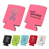 FOAM Collapsible Can Cooler with Rhinestone Awareness Ribbon
