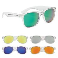 Crystalline Mirrored Sunglasses with Clear Frames