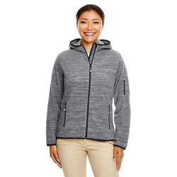 Ladies' Melange Velvet Fleece Hooded Full-Zip Sweatshirt