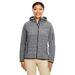 Ladies' Melange Velvet Fleece Hooded Full-Zip Sweatshirt