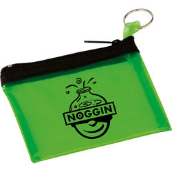 "4.5"" x 3"" Translucent PVC Zippered Pouch with Keytag"