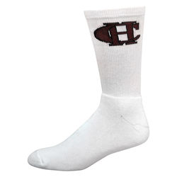 Super Soft White Cotton Crew Sock with Knit-In Logo