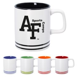 10 oz Double-Stripe Collegiate-Look Ceramic Mug